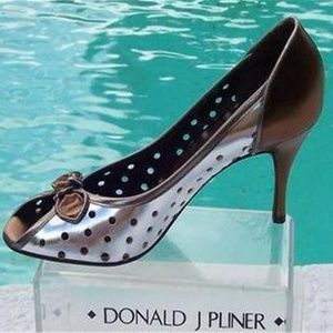 Couture Perforated Metallic Patent Leather Pump